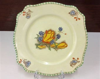Royal Staffordshire Pottery A.J. Wilkinson Ltd Honeyglaze Hand-Painted Floral Pottery Plate Vintage 1940's-50's English Collectable Plate