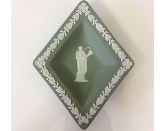 Wedgwood Sage Green Jasperware Diamond Dish Made in England Unused with Original Box