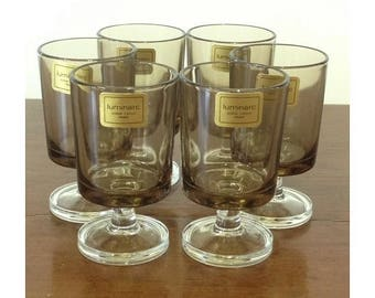Luminarc Smoke Cordials Set 6 Unused Stickers Intact Vintage French Port Glasses Clear and Smoke