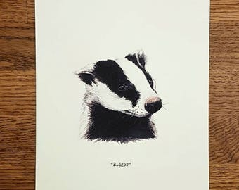 Badger - Wildlife portrait - A5 Fine Art Print - Limited Edition of 25