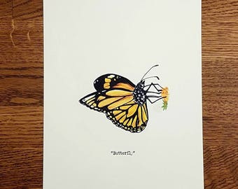 Butterfly - Wildlife portrait - A5 Fine Art Print - Limited Edition of 25