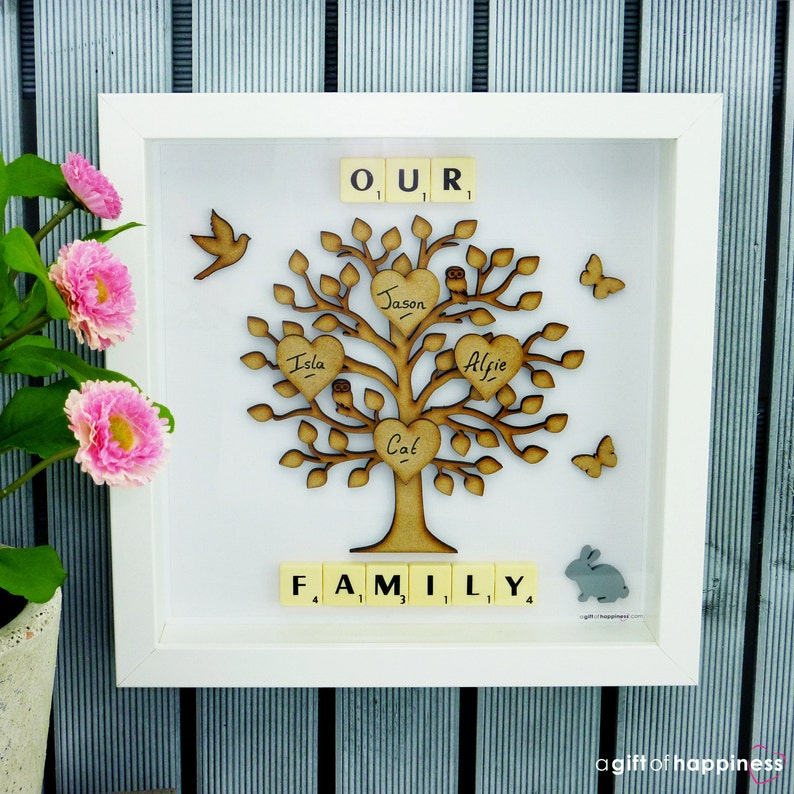 Our Family tree frame Family tree scrabble wall art Family tree wall art scrabble frame gift Christmas Gift Present Birthday Anniversary