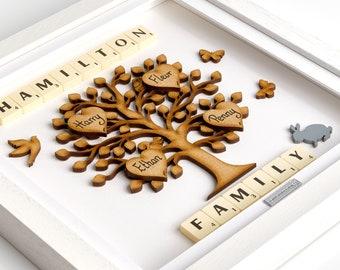 Family tree gift frame Persoanlised handmade scrabble family tree wall art Christmas present christmas gift xmas Birthday Anniversary Gifts