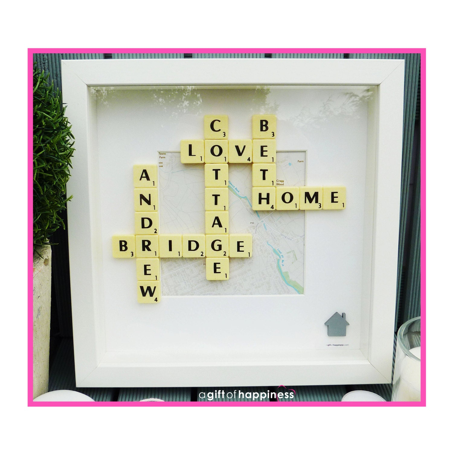 Housewarming gift hand made Personalised Scrabble picture | Etsy
