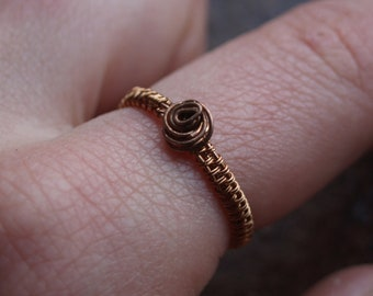 Woven copper ring