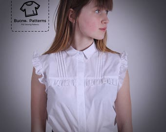 PDF pattern of sleeveless blouse for girls with ruffles and pleats.Age age 6 to 13 years..PDF sewing pattern.Blouse for girls pdf patterns.