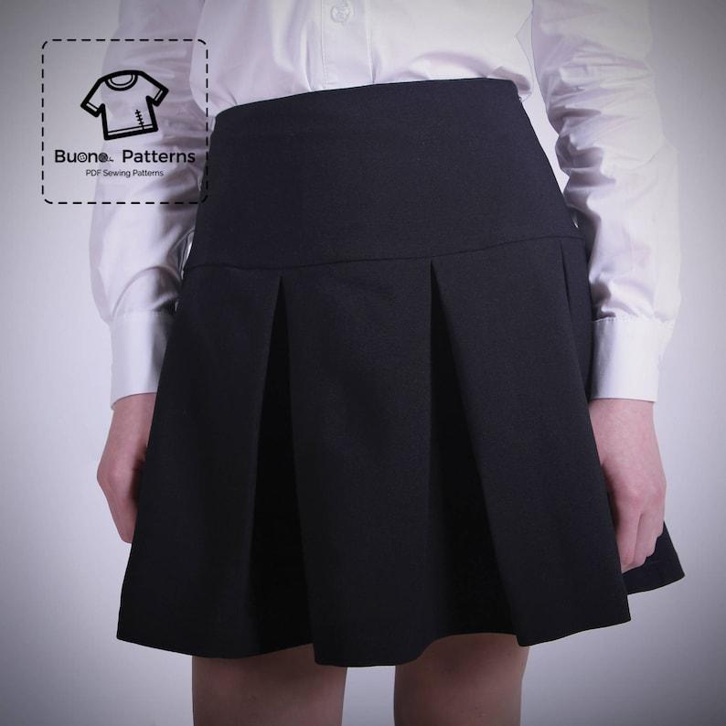 0d6b96f37 Patrón de falda plisada PDF. Falda plisada con yugo para niñas