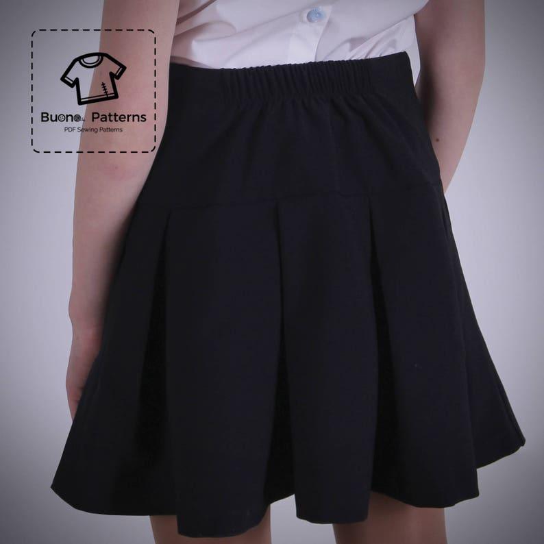 63f0b1cb9 Patrón de falda plisada PDF. Falda plisada con yugo para niñas