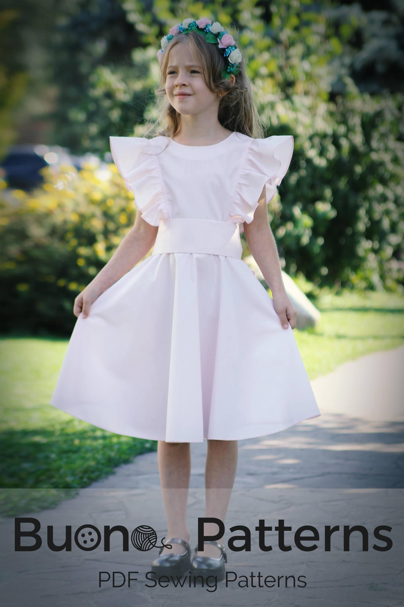 PDF-Schnittmuster ärmelloses Kleid mit Rüschen. Rüschen Sie