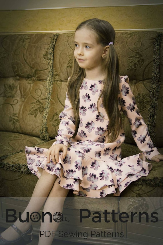 Lange Ärmel doppelt Volant Kleid PDF Schnittmuster Mädchen | Etsy