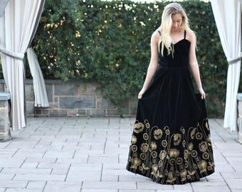 Vintage 70s Velvet Cotton Maxi Dress with Gold Embroidery ~ Bavarian Bohemain Folk Goddess