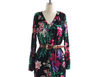Vintage Floral Maxi House Dress ~ Boho Spring Summer Silky ~ 70s Loungewear S/M/L