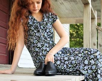 Floral Midi Dress ~ 90s Shawl Capelet Summer Spring ~ The Kennedy Dress ~ Women's Medium