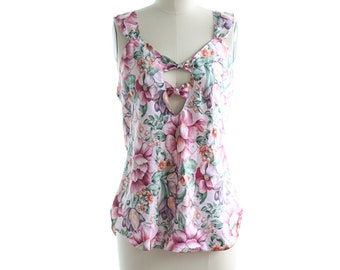 Vintage Sexy Lingerie Top Floral Silky ~ Tank Top Low Cut Back ~80s/90s Loungewear Size M/L
