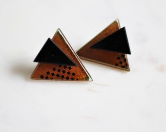 Vintage 1980s Funky Geometric Earrings ~ Bold Black and Rust Color ~ Post Back ~ Glam Boho