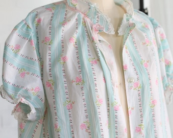 Vintage Buttondown Nightgown House Dress ~ Prairie Floral M/L