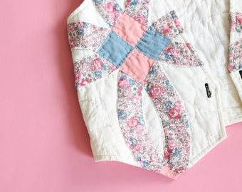 Incredible 1970s Handmade Nubuck Patchwork Floral Vest