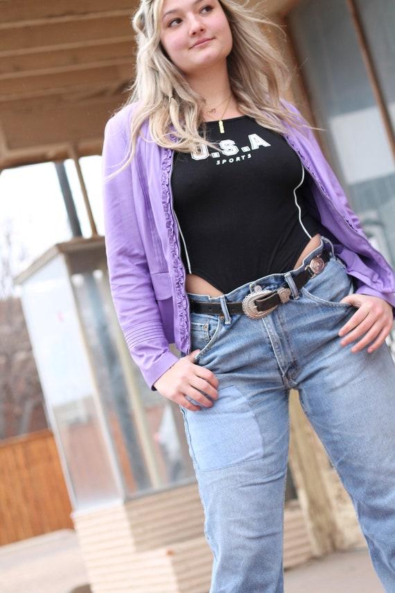 Vintage 90s Lilac Ruffle Moto Jacket ~ Size Medium - image 10