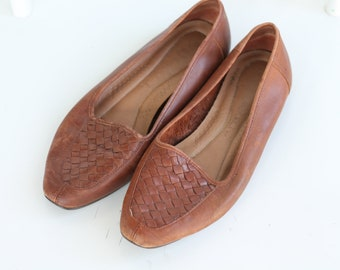 Vintage Leather Basketweave Loafers ~ 80s/90s Flats Size 7