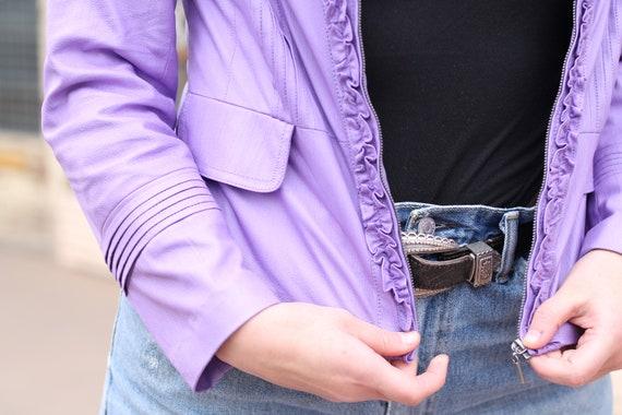 Vintage 90s Lilac Ruffle Moto Jacket ~ Size Medium - image 5