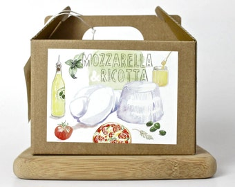 Mozzarella and Ricotta DIY cheese kit - multiple batches, organic, handmade, gift box, italian food, cheese making, do it yourself food kit