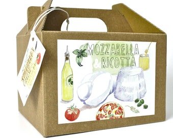 Mozzarella and Ricotta DIY cheese kit - cooking gift ideas, gifts for chefs, handmade, box, italian food, cheese making, food kit