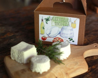 Mozzarella and Ricotta DIY cheese kit - multiple batches, vegetarian, handmade, gift box, artisan, cheese making, do it yourself food kit