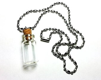 Mini Glass Bottle Charm Kit Necklace (18 Inch)