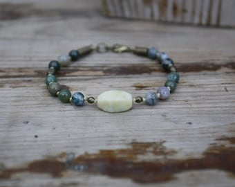 Mossy Jasper and Green Agate Bracelet, Beaded Bracelet with Clasp, Hand-Knotted Stone Bracelet