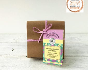 Serenity Slumber Bath Melts with Essential Oils, Shea Butter, Cocoa Butter and Coconut Oil.  Soothing, Relaxing.  Natural Skincare Gift.