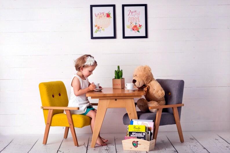 Kindertisch Aus Holz Schreibtisch Kindermöbel Schulbank Etsy