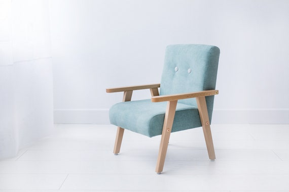 Small modern mint armchair for childrens room, wooden armchair, midcentury, wood furniture for kids, kidsbirthday, perfect kidsroom