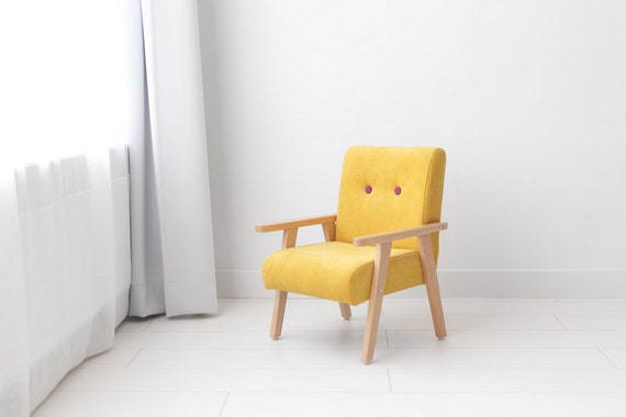 Yellow Armchair For Childrens Room, Small Modern Armchair