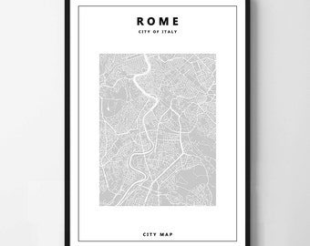 Poster poster map of Rome, simple and minimalist, feminine decoration for the House.