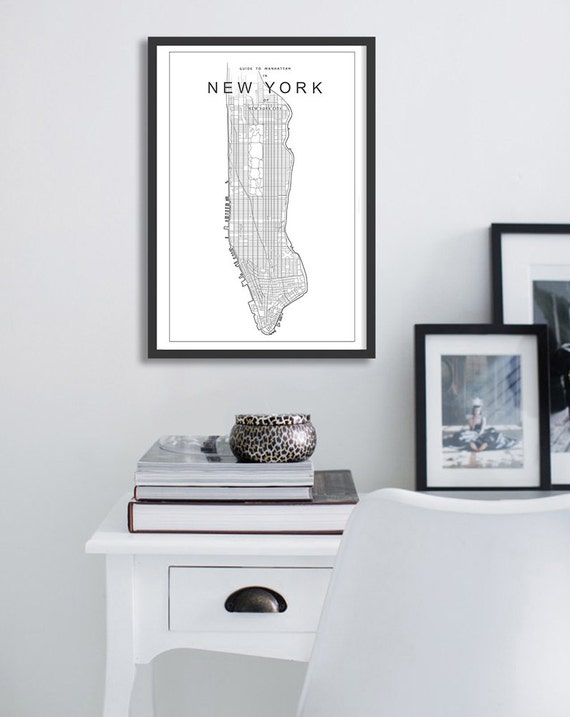 Poster Print Map Of New York City Minimalist And Simple Etsy