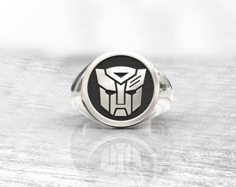 Monogram ring. Sterling silver ring. Silver monogram ring. Signet silver ring. Personalized signet ring. transformers. gift for men