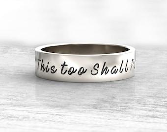 This Too Shall Pass Ring ,Gam Zeh Ya'avor Ring, Motivational ring, Inspirational message ring ,Custom Message Ring, Choose Joy ring