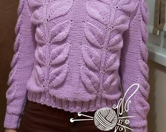 Knitted lilac sweater with leaves Long sleeves Hand-made Cashmere Crochet gift Clothing for women To dress with jeans. For catching a movie