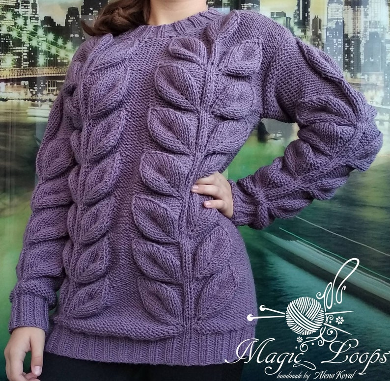 Long sweater tunic women/'s sweater color ash roses long sleeve handmade leaves pattern leaf women/'s clothing knitted long pullover branch