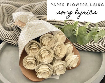 Custom Song Lyrics Paper Flowers or Wedding Vows, Paper Anniversary, First Anniversary, Gift for Her, Paper Roses, Song Gifts