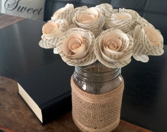 Stemmed Book Page Flowers, Book Flowers, Paper Flowers, Book Page Roses, Paper Roses, Wedding, Anniversary, Vintage Themed, Book Themed