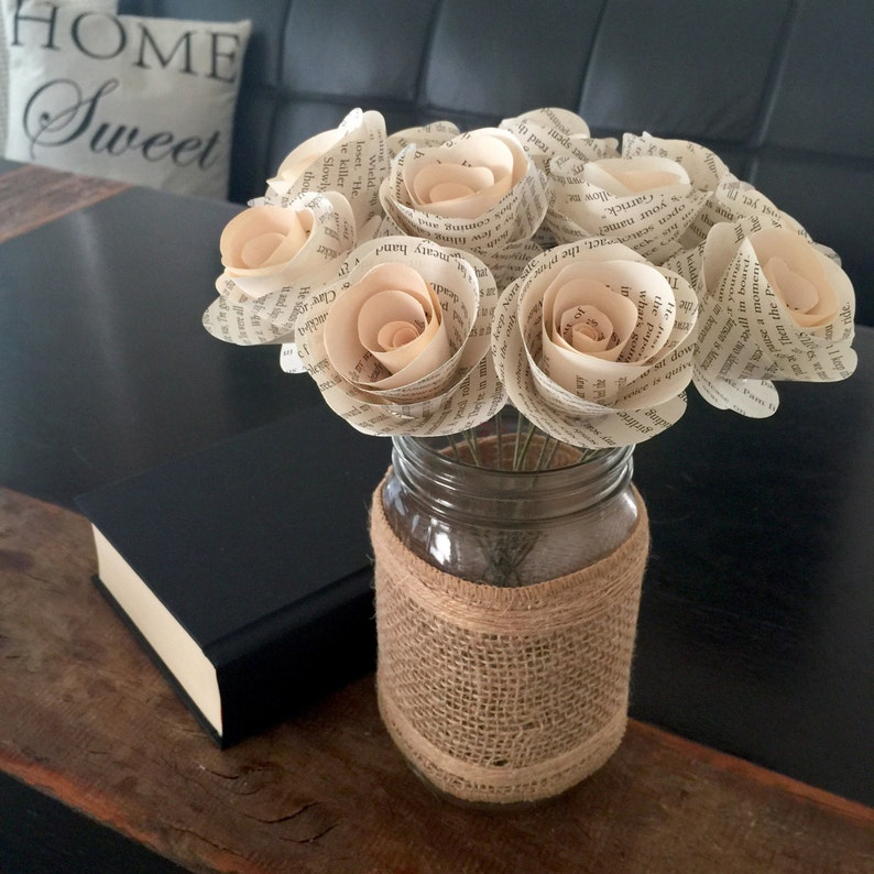 Stemmed Book Page Flowers Book Flowers Paper Flowers Book image 0