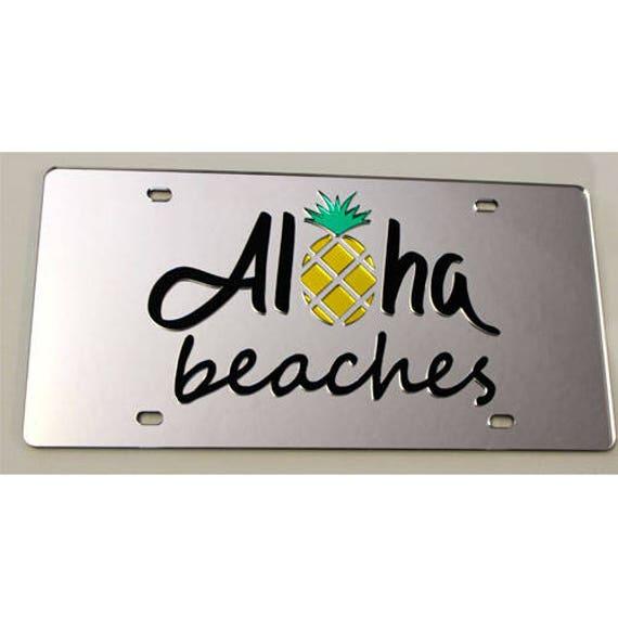 Aloha Beaches Mirrored Acrylic License Plate Car Tag