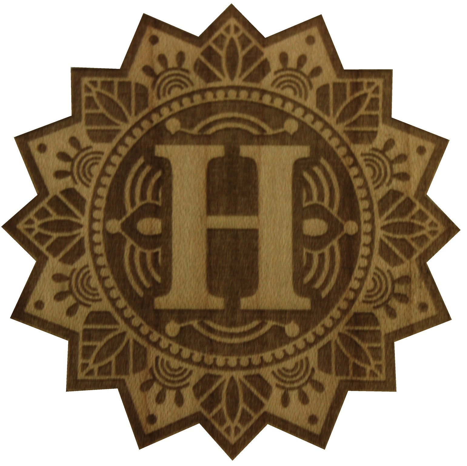 letter h real wood sticker