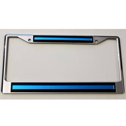 License Plate Frame Thin Blue Line Chrome w Mirrored Inlaid Acrylic ...