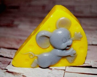 Soap ''Mouse on cheese'' Handmade soap Natural soap Homemade soap Bath and body Organic soap Glycerin soap Gifts for her Gift for mom