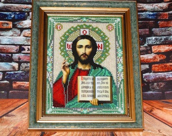 Christian decor Icon of a gift Jesus Christ Icon beading Hand embroidery Religious icon Church gift Icon decor Orthodox icon