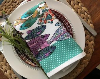 Napkins/Serviettes Fish Design- sets of 2 cotton napkins ON SALE