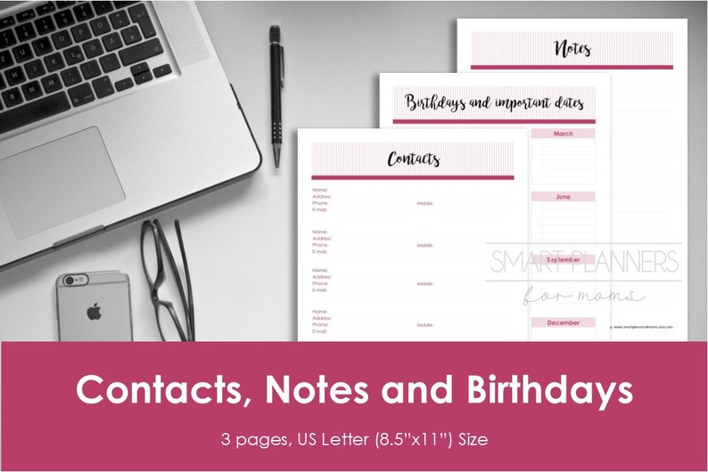 Contacts planner insert, printable, notes, birthday inserts  US Letter  Size, Portrait  Instant download  PDF & JPEG format  High resolution