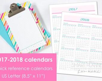 "Printable 2017-2018 Calendar at a glance. US Letter Size, 8.5""x11"". Portrait. Quick reference calendar. Instant download. PDF format. 300dpi"